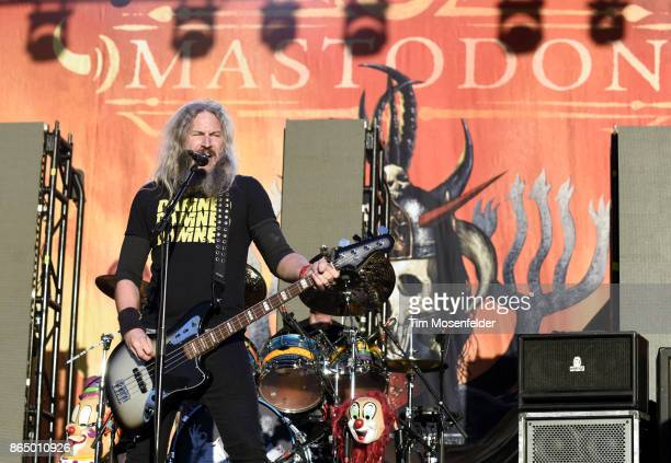 Troy Sanders of Mastodon performs during the Monster Energy Aftershock Festival at Discovery Park on October 21 2017 in Sacramento California