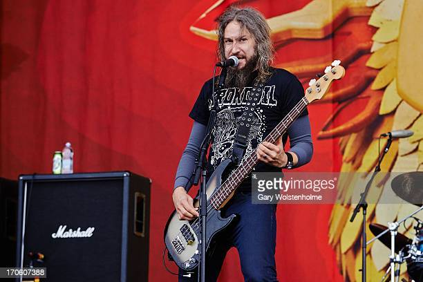 Troy Sanders of Mastodon performs on stage on Day 2 of Download Festival 2013 at Donnington Park on June 15 2013 in Donnington England