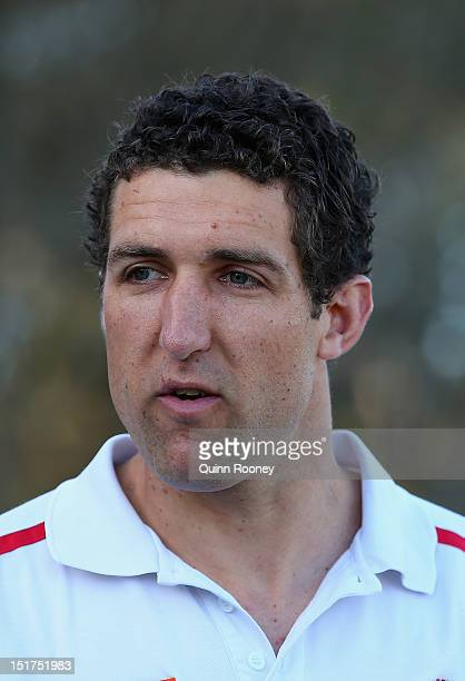 Troy Schwarze the coach of the Sorrento Football Club speaks to the media during a press conference at Sorrento Football Club on September 11 2012 in...