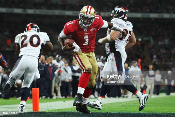 Troy Smith of San Francisco 49ers scores their first touchdown during the NFL International Series match between Denver Broncos and San Francisco...