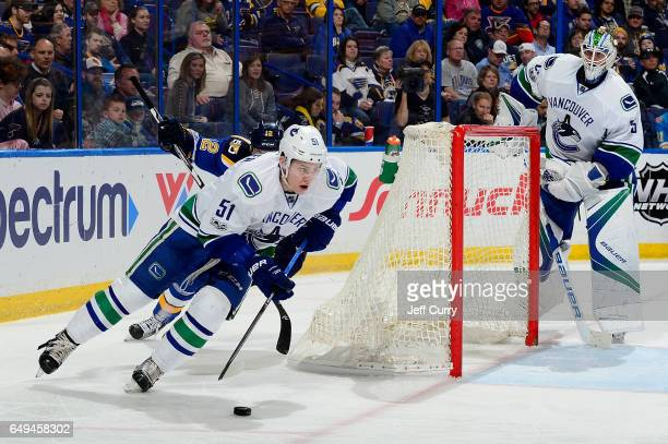 Troy Stecher of the Vancouver Canucks handles the puck against the St Louis Blues on February 16 2017 in St Louis Missouri