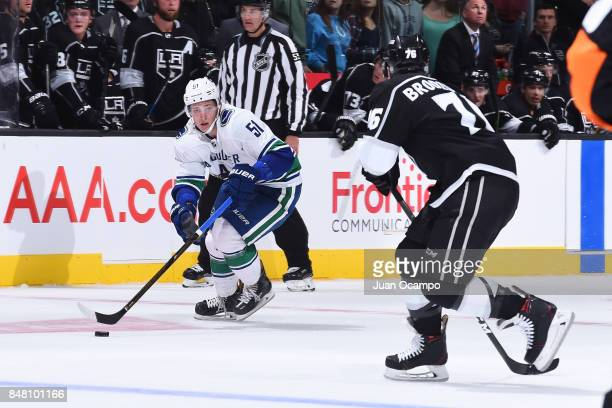 Troy Stecher of the Vancouver Canucks handles the puck during a game against the Los Angeles Kings at STAPLES Center on September 16 2017 in Los...