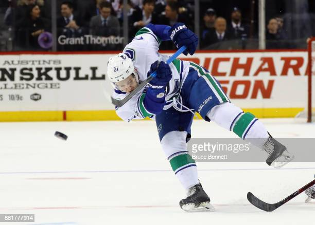 Troy Stecher of the Vancouver Canucks skates against the New York Islanders at the Barclays Center on November 28 2017 in the Brooklyn borough of New...