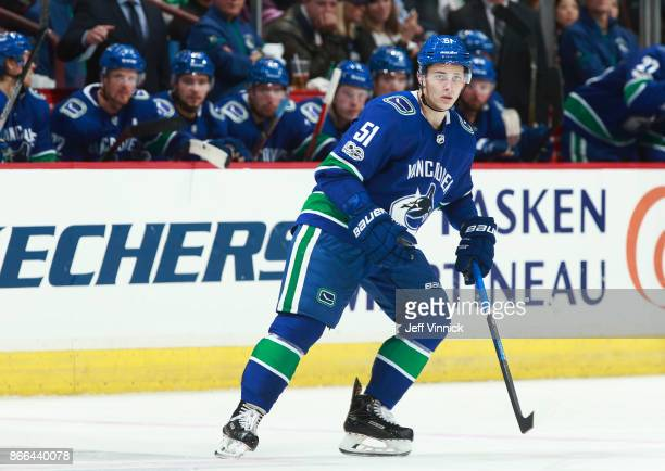 Troy Stecher of the Vancouver Canucks skates up ice during their NHL game against the Calgary Flames at Rogers Arena October 14 2017 in Vancouver...