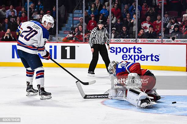 Troy Terry of Team United States gets the puck past goaltender Ilya Samsonov of Team Russia in a shootout to score the game winning goal during the...