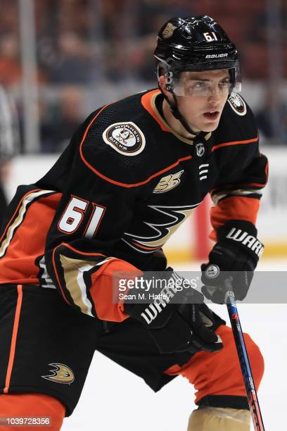 Troy Terry of the Anaheim Ducks looks on during the first period of an NHL preseason game against the Arizona Coyotes at Honda Center on September 24...