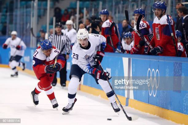Troy Terry of the United States skates against Martin Erat of the Czech Republic in the first period during the Men's Playoffs Quarterfinals on day...