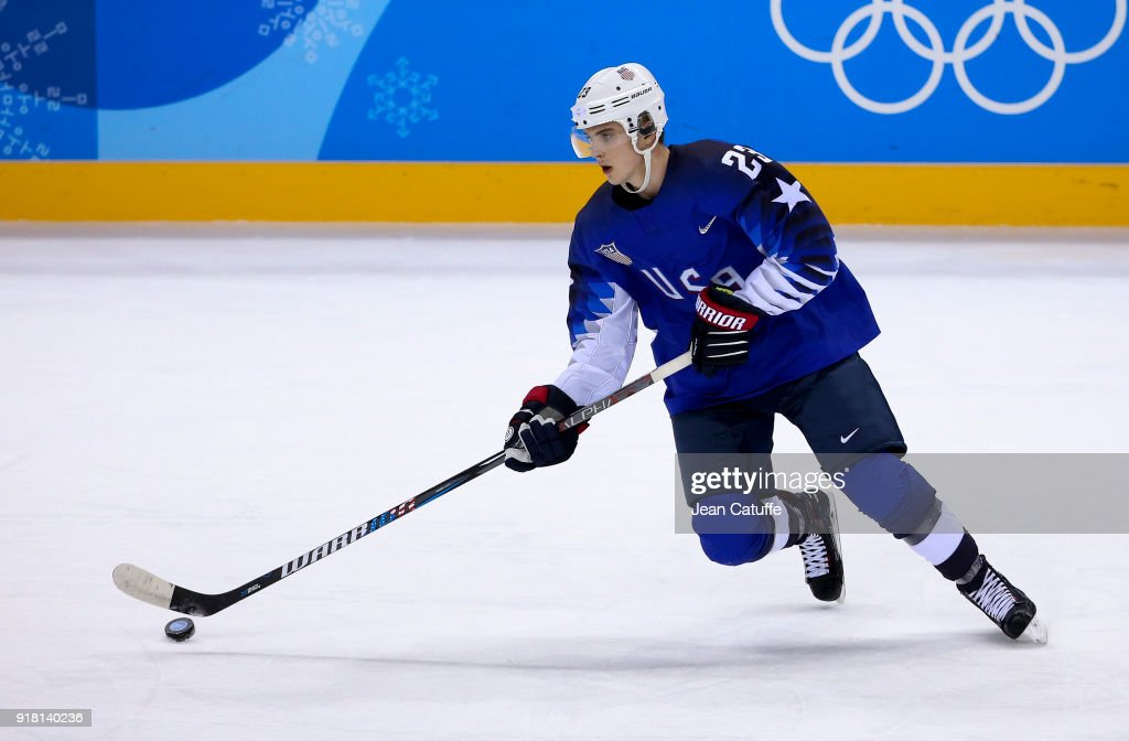 Troy Terry of USA during the Ice Hockey Men Preliminary Round match between USA and Slovenia at Kwandong Hockey Centre on February 14, 2018 in Gangneung, South Korea.