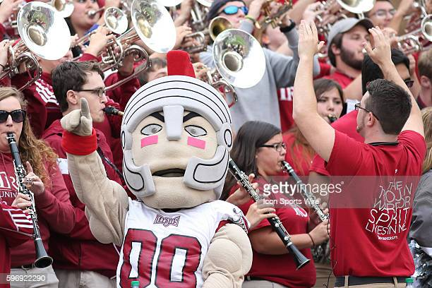 TRoy the Troy mascot and Sound of the South Pep Band get the crowd excited during an NCAA Football game between Troy and Mississippi State on October...