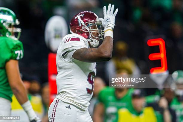 Troy Trojans cornerback Jalen Harris celebrates after a sack during a game between the Troy Trojans and North Texas Mean Green at the MercedesBenz...