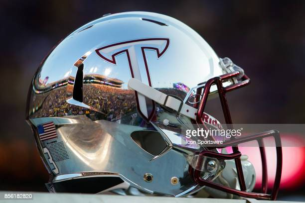 Troy Trojans helmet rests on the sideline during a game between the LSU Tigers and Troy Trojans at Tiger Stadium in Baton Rouge Louisiana on...