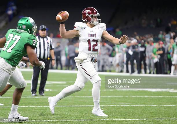 Troy Trojans quarterback Brandon Silvers throws a pass for the twopoint conversion during a football game between the Troy Trojans and the North...