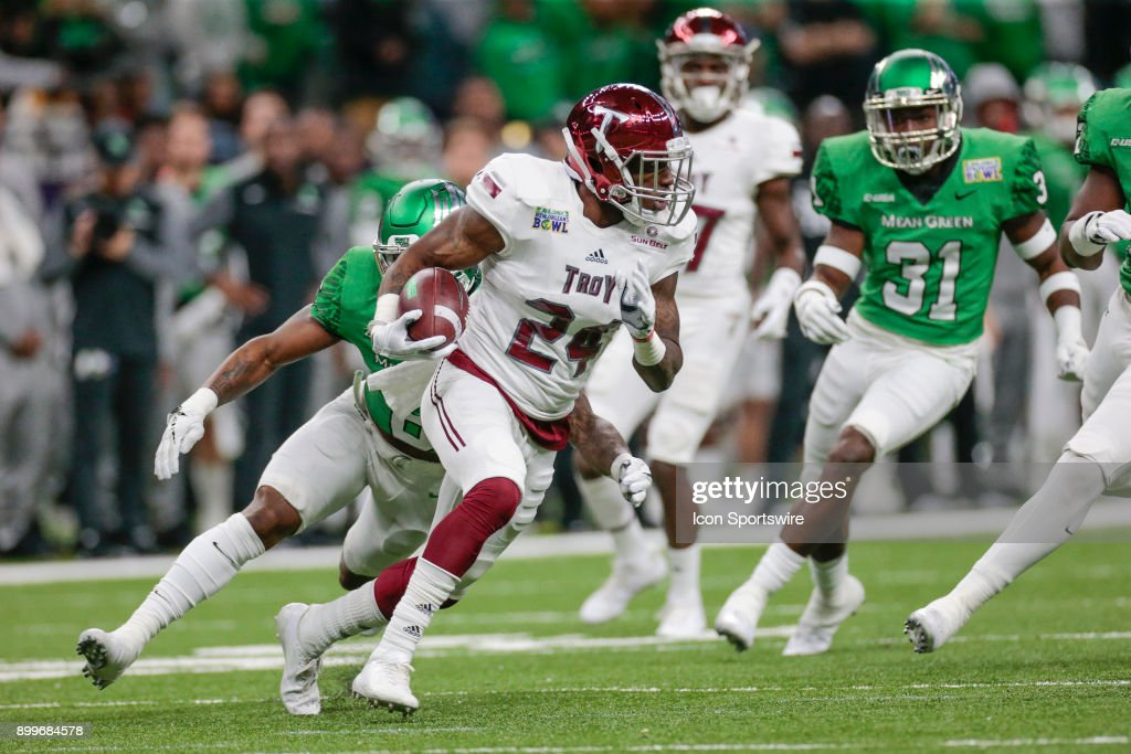 Troy Trojans safety Cedarius Rookard (24) returns a punt during the New Orleans Bowl between North Texas and Troy on December 16, 2017, at the Mercedes-Benz Superdome in New Orleans, LA.