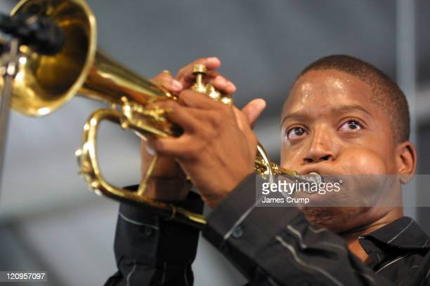 "Troy ""Trombone Shorty"" Andrews performs at the opening day of the 35th Anniverary of the New Orleans Jazz & Heritage Festival at the New Orleans Fair..."