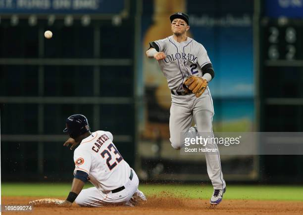 Troy Tulowitzki of the Colorado Rockies makes a play at second base during the fourth inning on Chris Carter of the Houston Astros at Minute Maid...