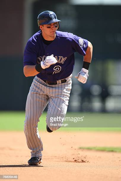 Troy Tulowitzki of the Colorado Rockies runs during the game against the San Francisco Giants at ATT Park in San Francisco California on August 29...