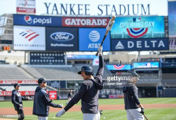 Troy Tulowitzki of the New York Yankees stretches during batting practice before the game against the Baltimore Orioles during Opening Day at Yankee...