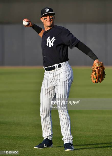 Troy Tulowitzki of the New York Yankees warms up before the spring training game against the Baltimore Orioles at Steinbrenner Field on March 12 2019...