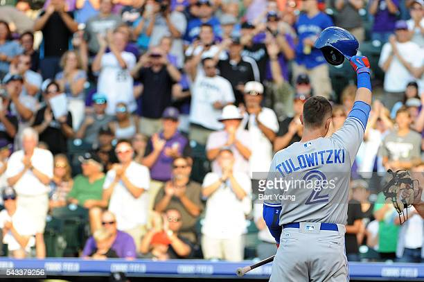 Troy Tulowitzki of the Toronto Blue Jays acknowledges the crowd in the second inning against the Colorado Rockies at Coors Field on June 27, 2016 in...
