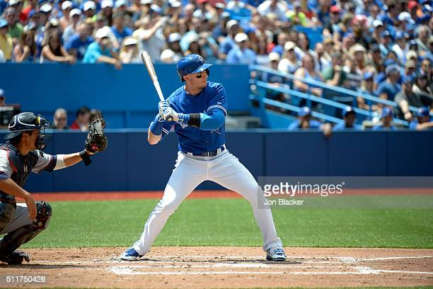Troy Tulowitzki of the Toronto Blue Jays bats during the game against the Minnesota Twins at the Rogers Centre on Monday August 3 2015 in Toronto...