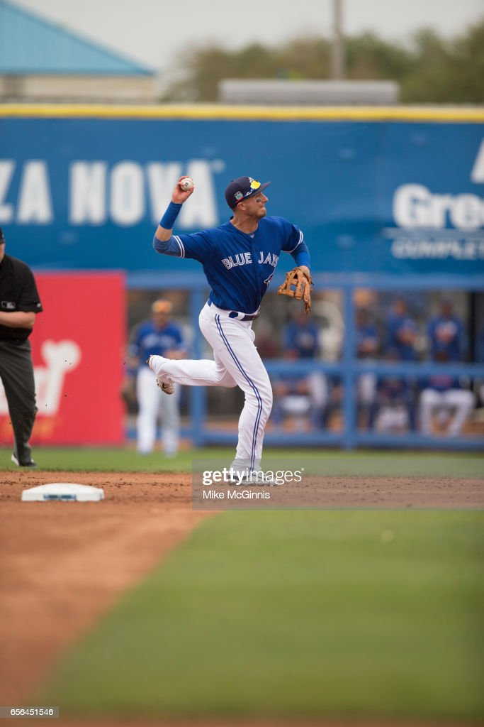 Troy Tulowitzki #2 of the Toronto Blue Jays during the Spring Training game against the Boston Red Sox at Florida Auto Exchange Stadium on March 13, 2017 in Lakeland, Florida.