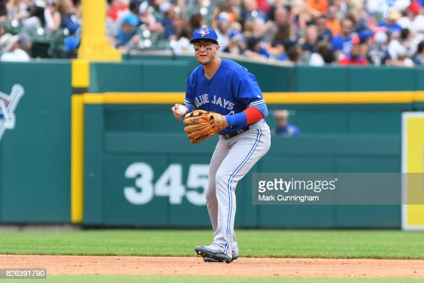 Troy Tulowitzki of the Toronto Blue Jays fields during the game against the Detroit Tigers at Comerica Park on July 16 2017 in Detroit Michigan The...