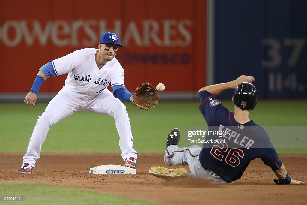 Troy Tulowitzki #45 of the Toronto Blue Jays gets the force out at second base of Max Kepler #26 of the Minnesota Twins but cannot turn the double play in the sixth inning during MLB game action on August 26, 2016 at Rogers Centre in Toronto, Ontario, Canada.