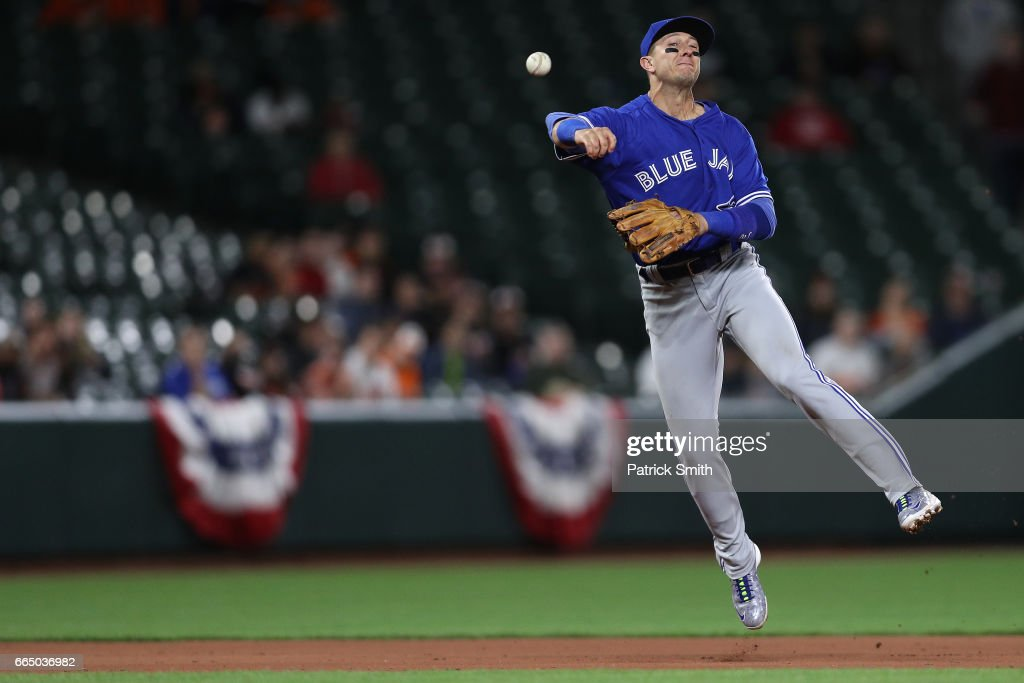 Troy Tulowitzki #2 of the Toronto Blue Jays makes a play on a hit by Joey Rickard #23 of the Baltimore Orioles during the eighth inning at Oriole Park at Camden Yards on April 5, 2017 in Baltimore, Maryland.