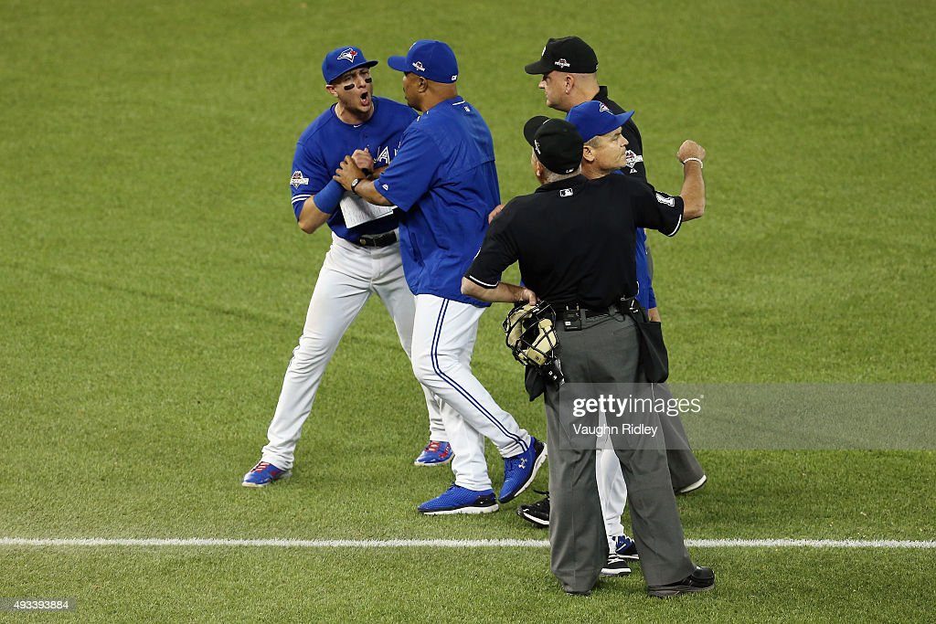 Troy Tulowitzki #2 of the Toronto Blue Jays reacts as he is ejected from the game in the eighth inning against the Kansas City Royals during game three of the American League Championship Series at Rogers Centre on October 19, 2015 in Toronto, Canada.
