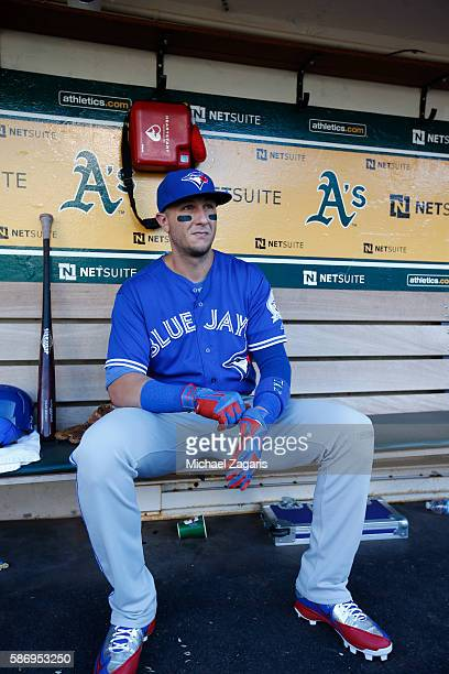Troy Tulowitzki of the Toronto Blue Jays sits in the dugout prior to the game against the Oakland Athletics at the Oakland Coliseum on July 15 2016...