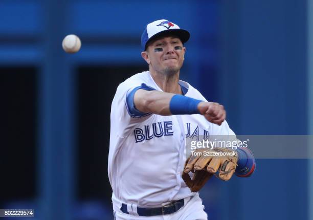 Troy Tulowitzki of the Toronto Blue Jays throws out the baserunner in the third inning during MLB game action against the Baltimore Orioles at Rogers...