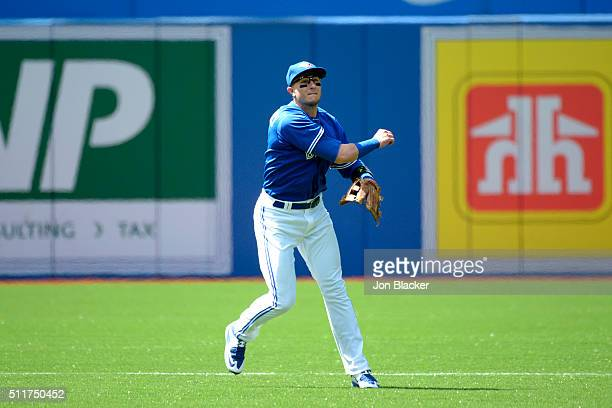 Troy Tulowitzki of the Toronto Blue Jays throws to first base during the game against the Minnesota Twins at the Rogers Centre on Monday August 3...