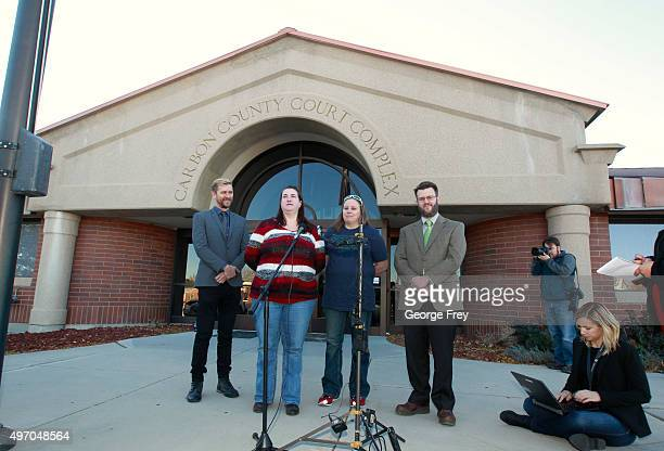 Troy Williams Executive Director of Equality Utah April Hoagland her wife Beckie Peirce their attorney Jim Hunnicutt talk to the press after a Utah...