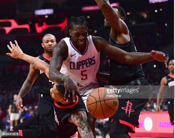 Troy Williams of the LA Clippers gets fouled by Gerald Green of the Houston Rockets during a 113102 Clipper win at Staples Center on January 15 2018...