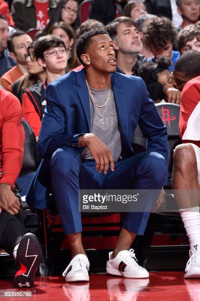 Troy Williams of the Houston Rockets looks on during the game against the Milwaukee Bucks on December 16 2017 at the Toyota Center in Houston Texas...