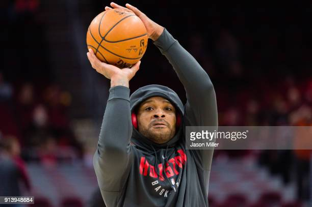 Troy Williams of the Houston Rockets warms up prior to the game against the Cleveland Cavaliers at Quicken Loans Arena on February 3 2018 in...