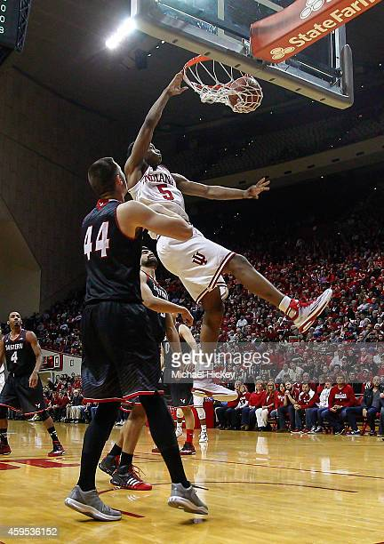 Troy Williams of the Indiana Hoosiers dunks the ball against the Eastern Washington Eagles at Assembly Hall on November 24, 2014 in Bloomington,...