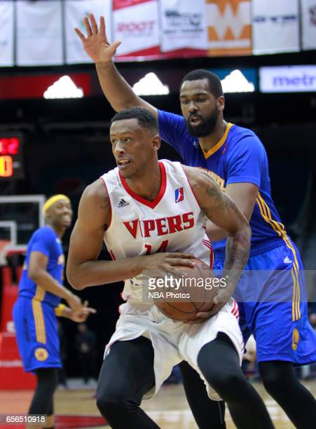 Troy Williams of the Rio Grande Valley Vipers gets behind James Southerland of the Santa Cruz Warriors at the State Farm Arena March 21 2017 in...