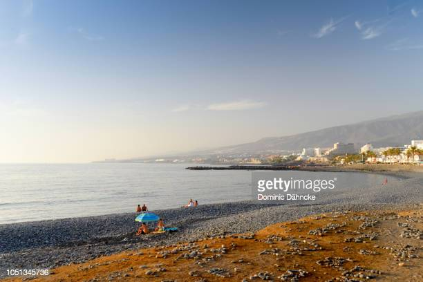 troya beach, in costa adeje town, south of tenerife island (canary islands) - atlantic islands stock pictures, royalty-free photos & images
