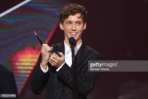 Troye Sivan accepts an ARIA for Best Video during the 30th Annual ARIA Awards 2016 at The Star on November 23 2016 in Sydney Australia