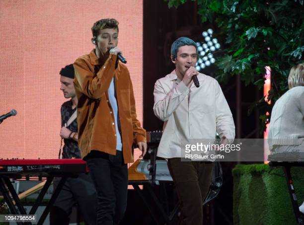 Troye Sivan and Lauv are seen at 'Jimmy Kimmel Live' on February 06 2019 in Los Angeles California