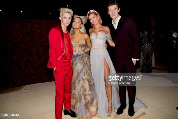 Troye Sivan Ariana Grande Hailey Baldwin and Shawn Mendes attend the Heavenly Bodies Fashion The Catholic Imagination Costume Institute Gala at The...