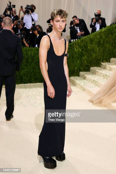 Troye Sivan attends The 2021 Met Gala Celebrating In America: A Lexicon Of Fashion at Metropolitan Museum of Art on September 13, 2021 in New York...