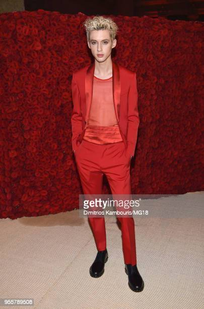 Troye Sivan attends the Heavenly Bodies Fashion The Catholic Imagination Costume Institute Gala at The Metropolitan Museum of Art on May 7 2018 in...