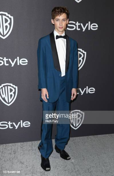 Troye Sivan attends the InStyle And Warner Bros Golden Globes After Party 2019 at The Beverly Hilton Hotel on January 6 2019 in Beverly Hills...