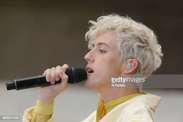 Troye Sivan performs on NBC's Today Show at Rockefeller Plaza on May 28 2018 in New York City