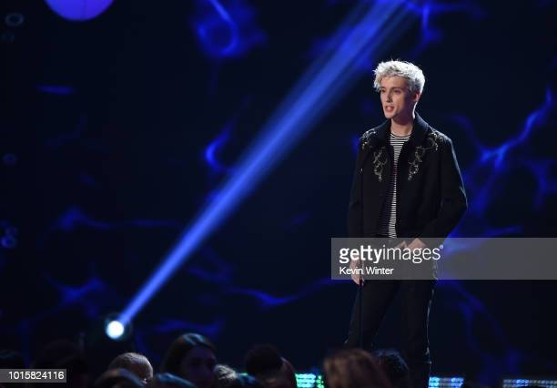 Troye Sivan speaks onstage during FOX's Teen Choice Awards at The Forum on August 12 2018 in Inglewood California