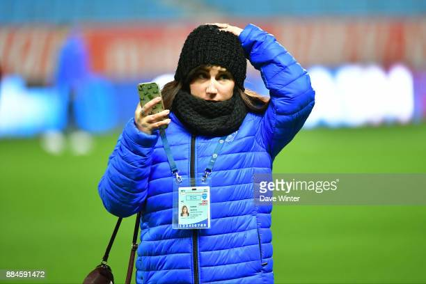 Troyes assistant press attache Apolline Cassis during the Ligue 1 match between Troyes Estac and EA Guingamp at Stade de l'Aube on December 2 2017 in...