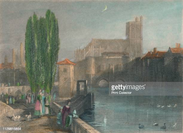 Troyes', circa 1833, . View of the town of Troyes on the River Seine in France. Engraving after a watercolour. [Longman & Co, London]. Artist JC...