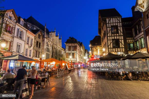 Troyes city life at evening